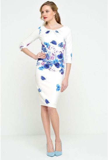 Fiona Floral Print Tailored Dress in Blue