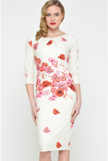 Fiona Floral Print Tailored Dress in Red