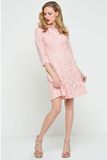 Polly Lace Shirt Dress in Pink