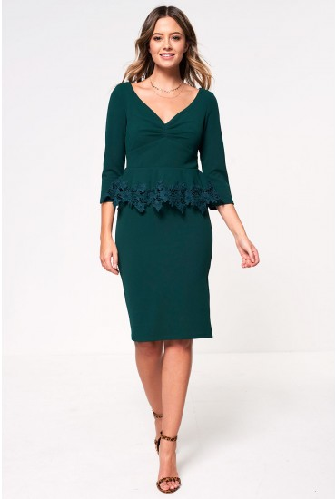Neo Tailored Dress with Crochet Detail in Emerald