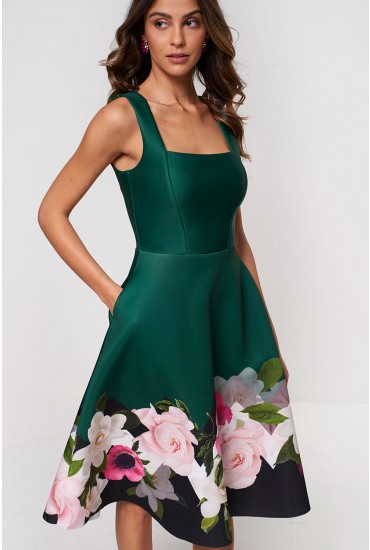 Reuben Occasion Dress in Green Floral