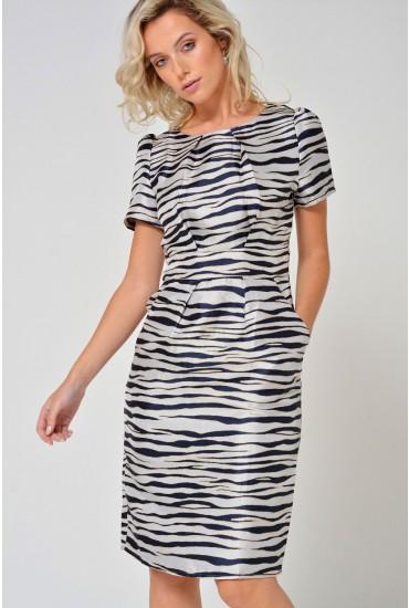 Zelda S/S Zebra Print Dress in Navy