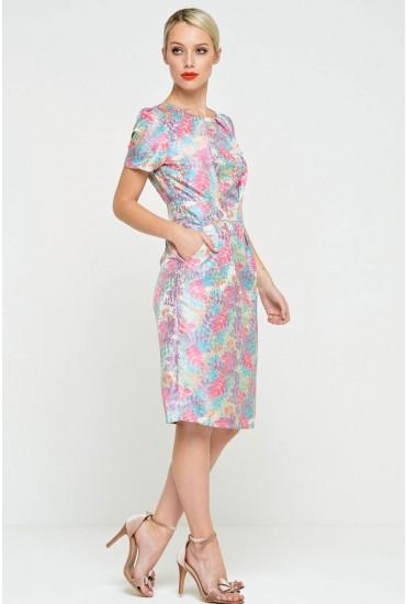 Kourtney Flower Print Pocket Dress in Multi Pink