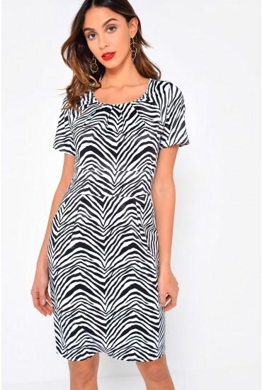 Montana S/S Pocket Dress in Zebra Print