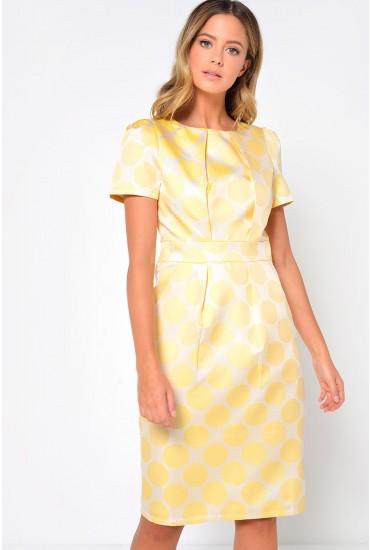 Kate Polka Dot Tulip Dress in Yellow