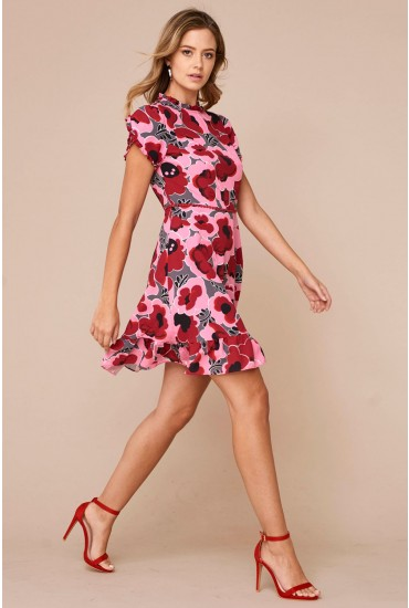 Lucille Floral Print Dress in Red
