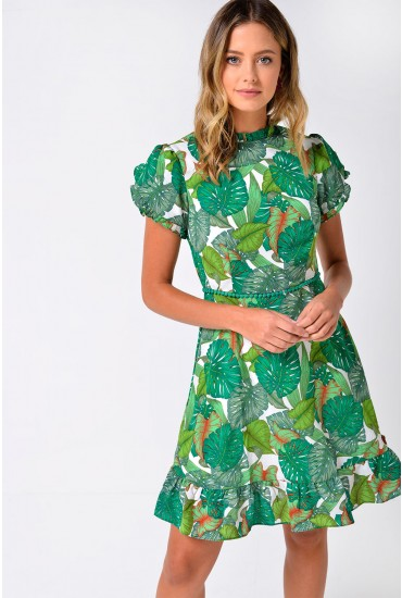 Lucille Palm Print Dress in Green