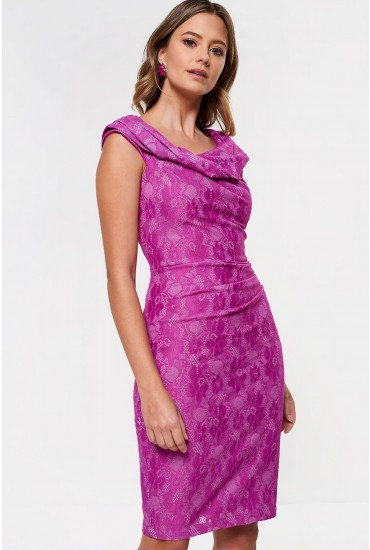 Ella Lace Ruched Midi Dress in Purple