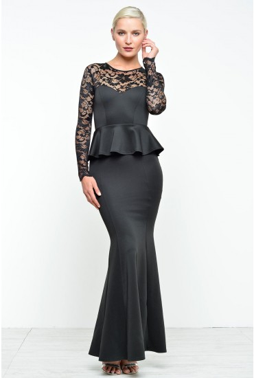 Debbie Lace Sleeve Evening Dress