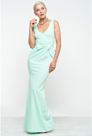 Adelia Gathered Sleeveless Maxi Dress in Mint