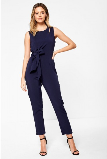 Lavish Alice Draped Side Tie Jumpsuit in Navy