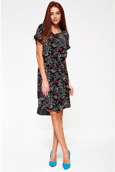 Josephine Dress in Black Floral Print