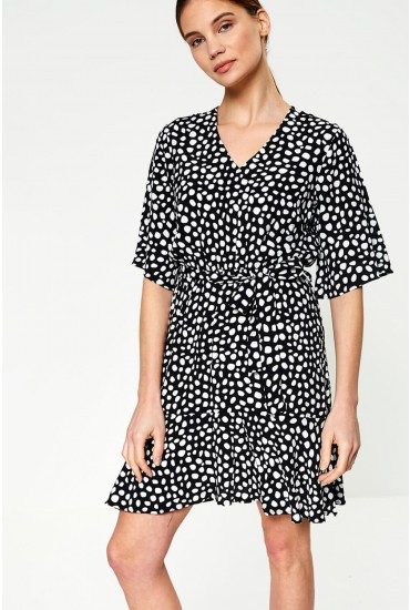 Stone Dress in Black Polka Dot