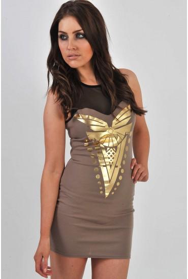 Danielle Mesh Top Bodycon Dress in Mocha