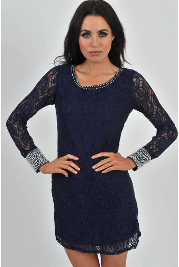 Rachel Lace Pearl Embellished Tunic in Navy