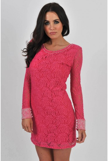 Rachel Lace Pearl Embellished Tunic in Pink