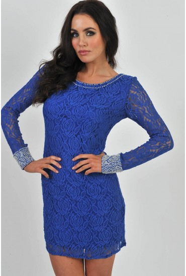 Rachel Lace Pearl Embellished Tunic in Blue