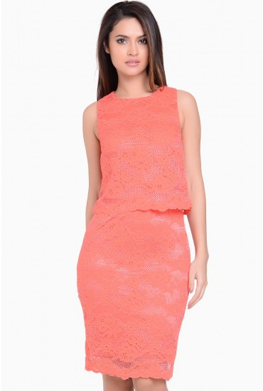 Helga 2 in 1 Lace Dress in Coral