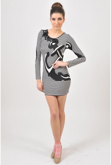 Yasmin Nautical Bodycon Dress in Black
