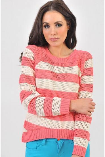 Hannah Stripe Jumper in Coral