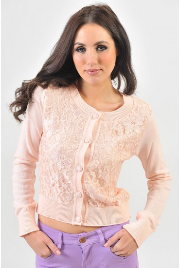 Shauna Lace Front Cardigan in Pink
