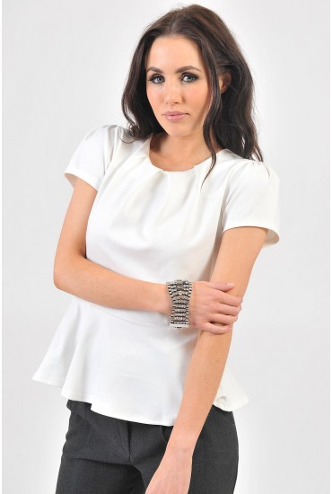 Dara Tailored Peplum Top in Cream
