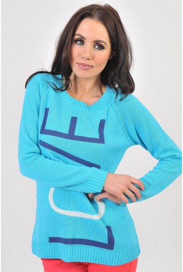 Peggy LOVE Contrast Jumper in Blue