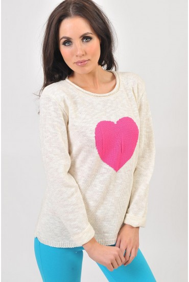 Aria Heart Print Knit Jumper in Pink