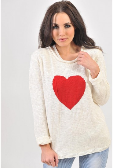 Aria Heart Print Knit Jumper in Red