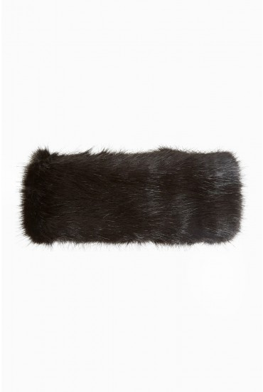 Edy Faux Fur Headband in Black