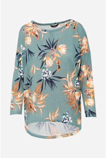 Elcos Top in Green Floral Print