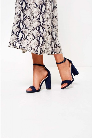 Elena Block Heel Sandals in Navy