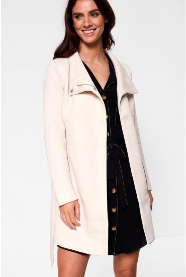 Elli Longline Coat in Cream