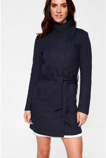 Elli Longline Coat in Navy
