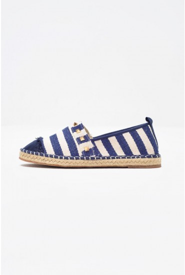 Tina Woven Espadrille in Blue Stripe