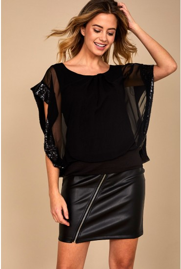 Angela Embellished Chiffon Top in Black
