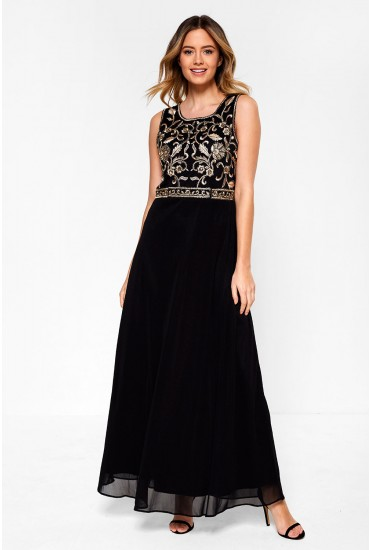 Adelina Embellished Maxi Dress in Black