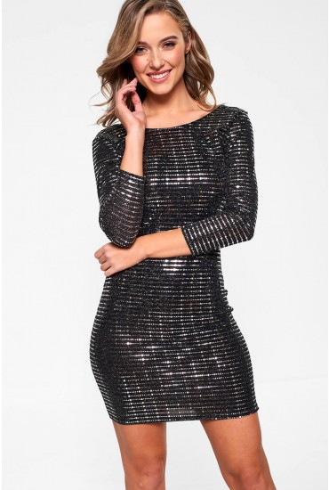 Lucy Embellished Shimmer Dress in Silver