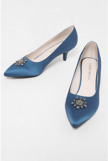 Daisy Embelllished Kitten Heel Pumps in Teal