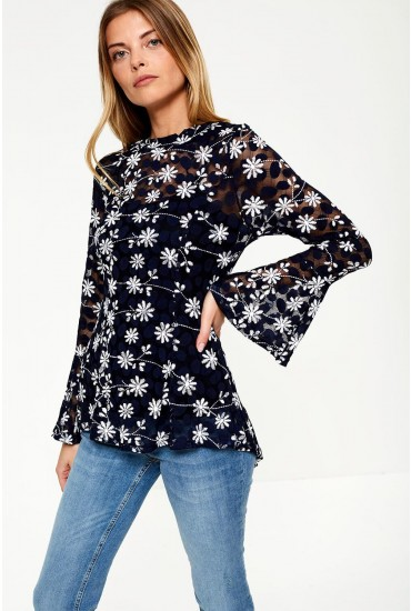 Louisa Embroidered Top With Pep Hem in Navy