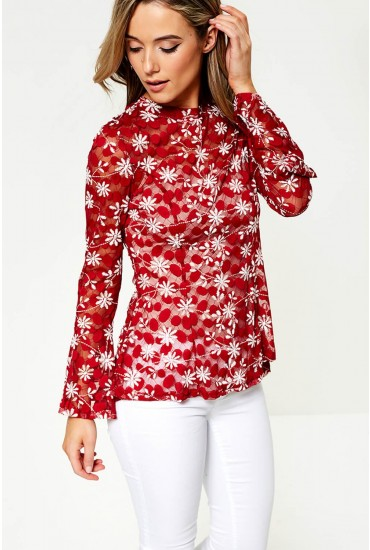Louisa Embroidered Top With Pep Hem in Red