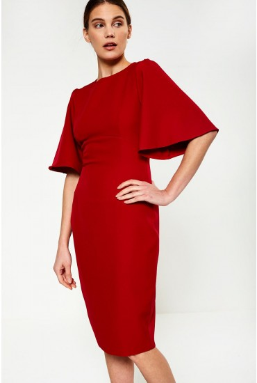 Emma Midi Dress in Red Brick