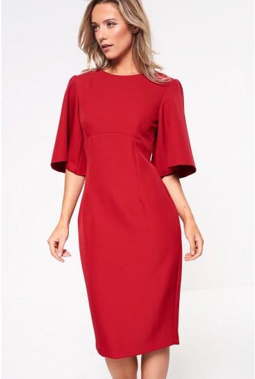 Emma Midi Dress in Red Brick