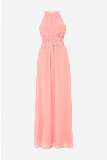 Milina Halterneck Maxi Dress in Pink