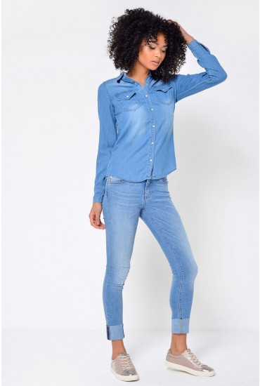 Carmen Short Ankle Jeans in Light Blue