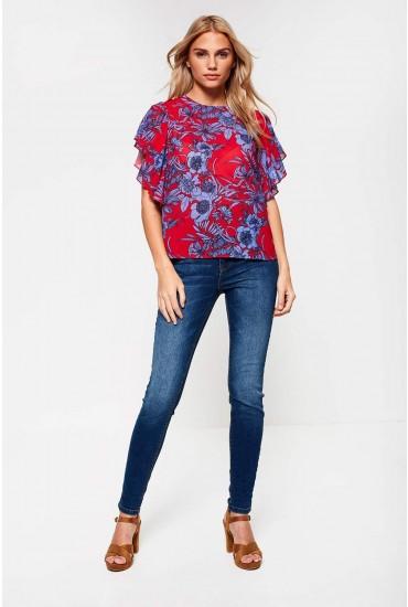 Jona Petite High Rise Skinny Jeans in Medium Blue