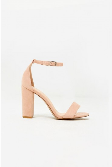 Elena Block Heel Sandals in Blush Suede