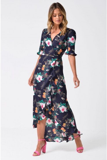 Jordan Floral Midi Wrap Dress in Navy