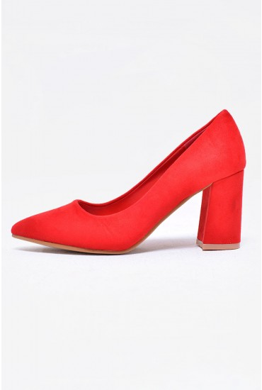Kai Suede Pointed Court Shoe in Red