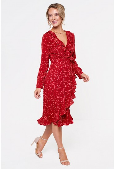 Kara Frill Midi Dress in Red Polka Dot